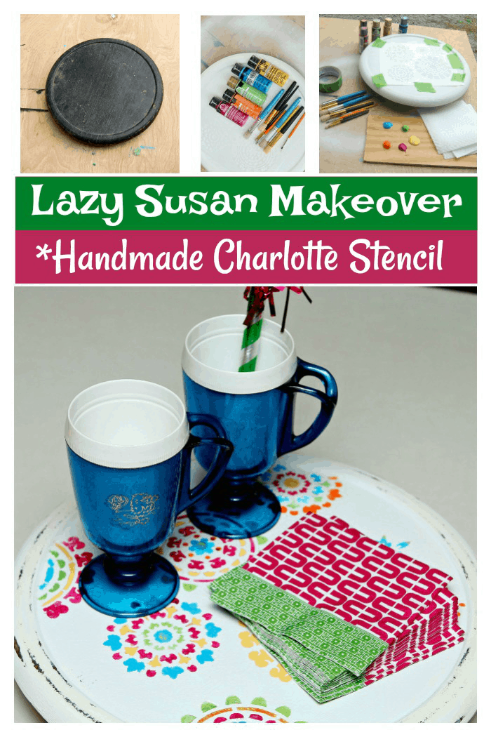 Lazy susan makeover using a Handmade Charlotte Stencil and Bold Acrylic Paints