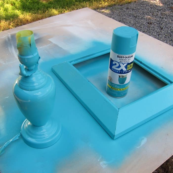 Rustoleum Spray Paint Seaside Turquoise color for thrifty diy projects