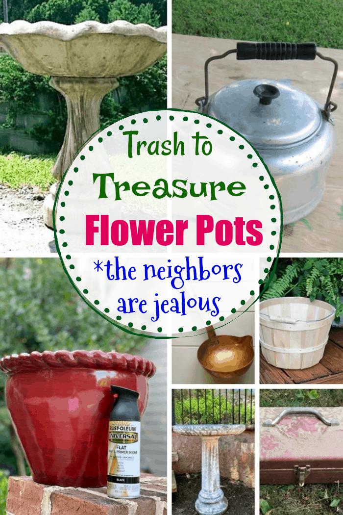 Trash to treasure flower pots