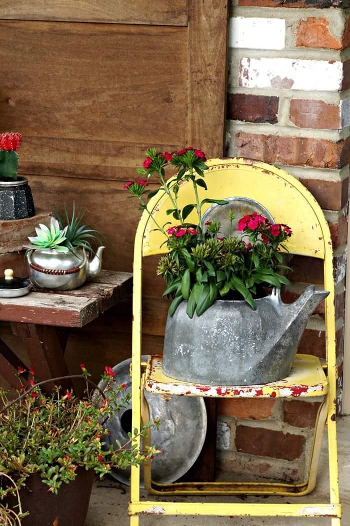 Upcycled Tea Kettle DIY Flower Pots