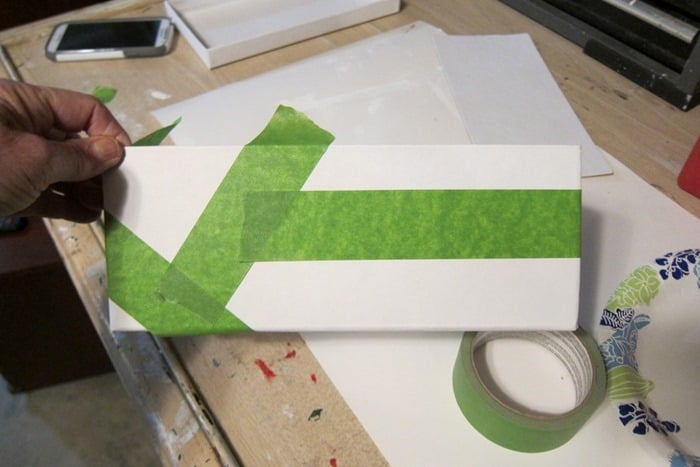 Use painter's tape to make a graphic design
