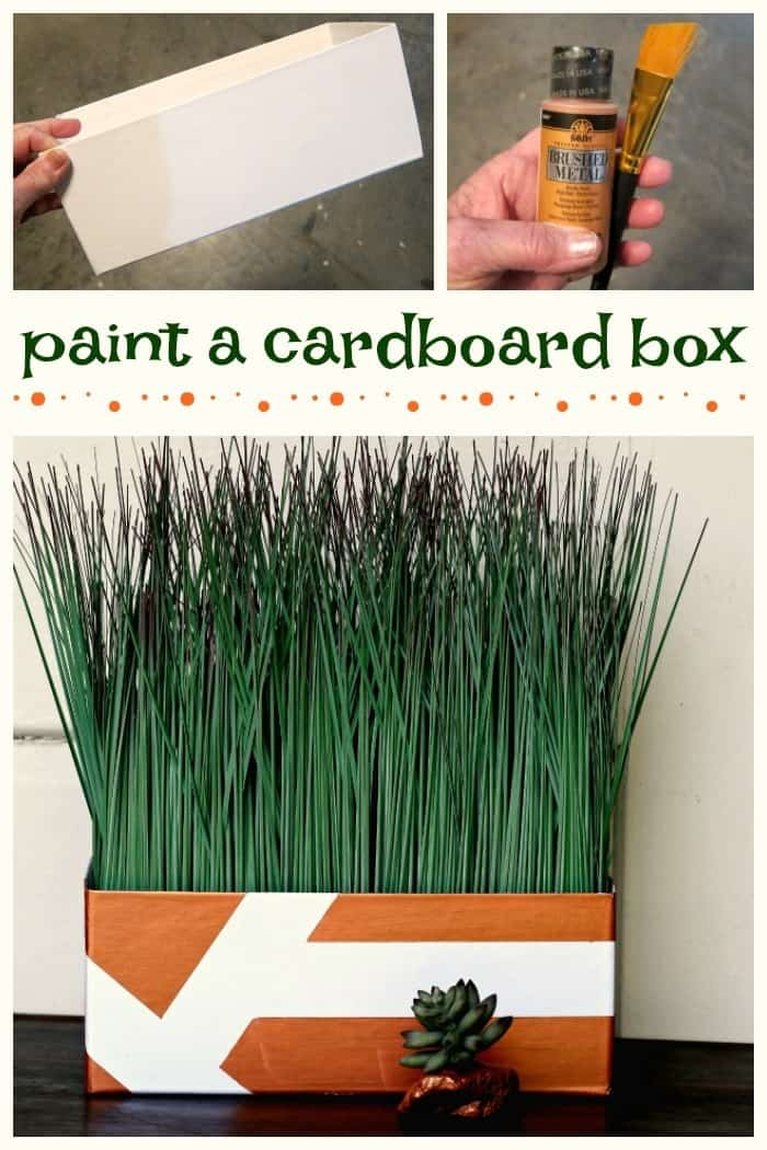 Yes You Can Paint A Cardboard Box Metallic Copper