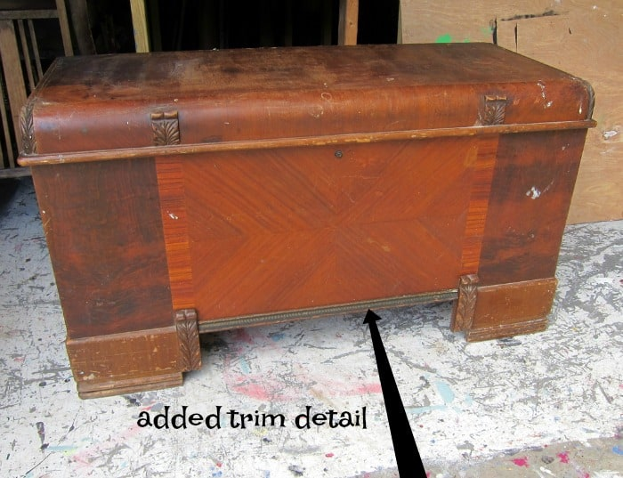 added detail to vintage cedar chest before painting