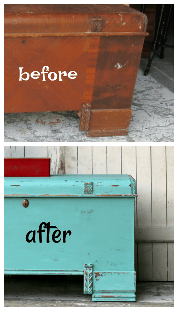 before and after cedar chest makeover