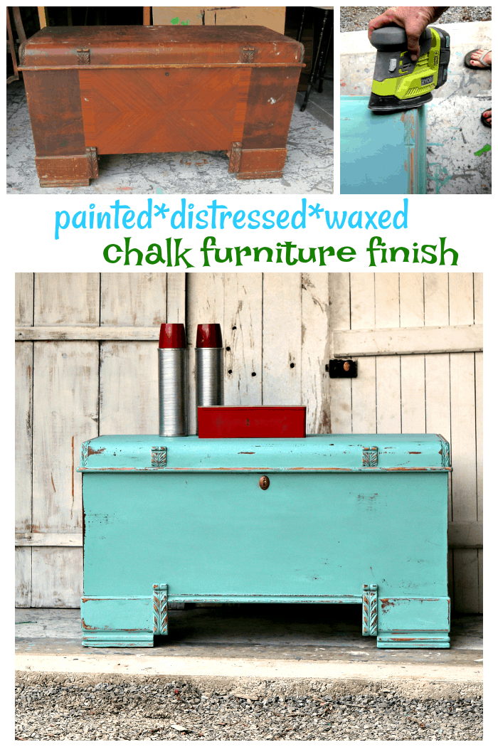 chalk type furniture finish painted distressed and waxed