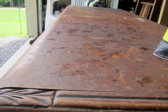 damage to the top of a cedar chest