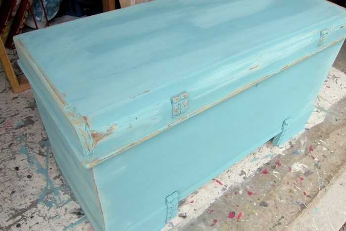 distressed paint before waxing