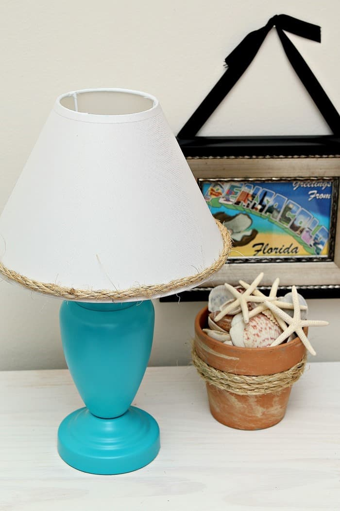 diy craft projects using sisal rope and turquoise spray paint