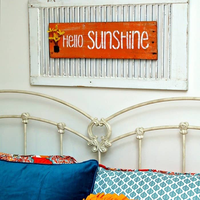 hello sunshine wood shutter sign