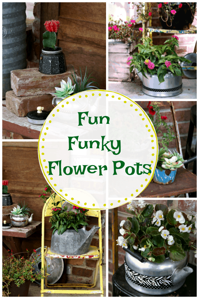 make fun funky flower pots from recycled kitchen ware like tea kettles and pots