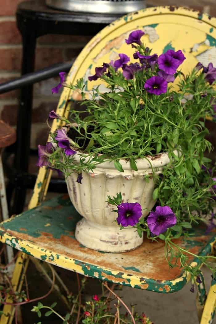 rusty chairs and pots make great porch flower planters