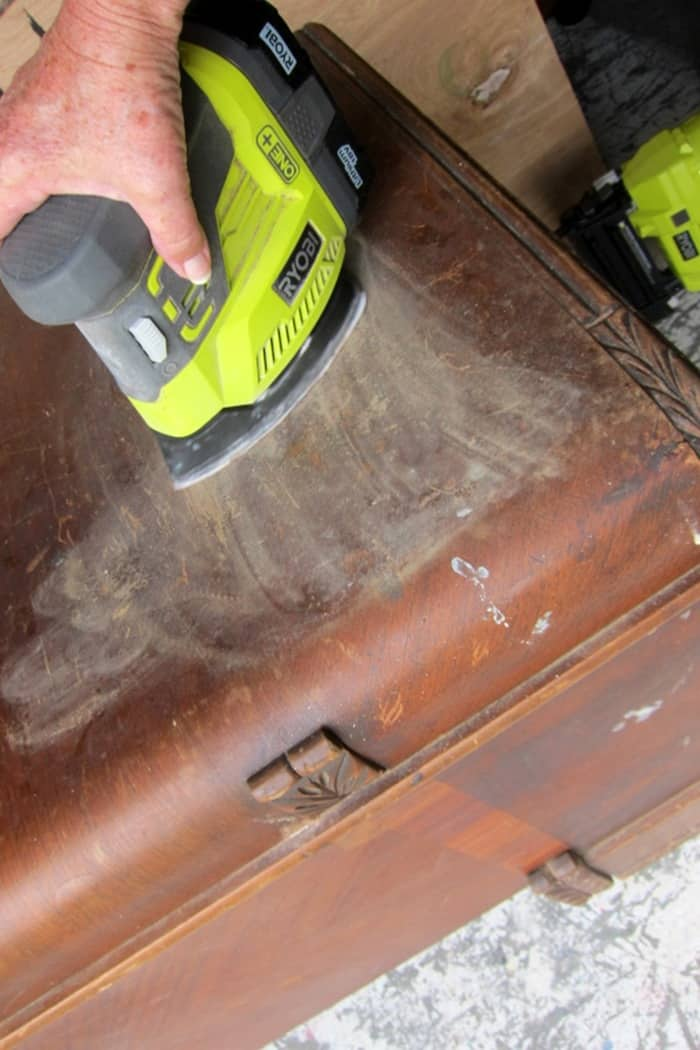 sanding damaged furniture