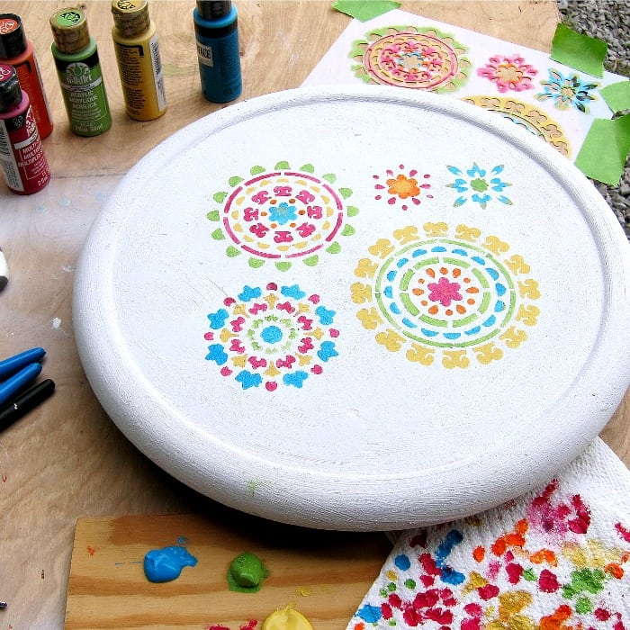 stenciling designs with multiple colors adds depth