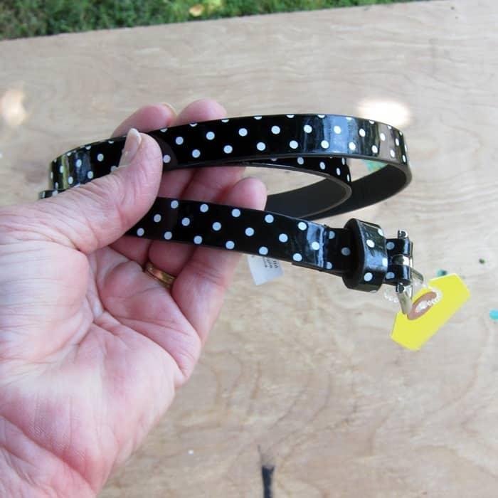 thrift store black and white belt