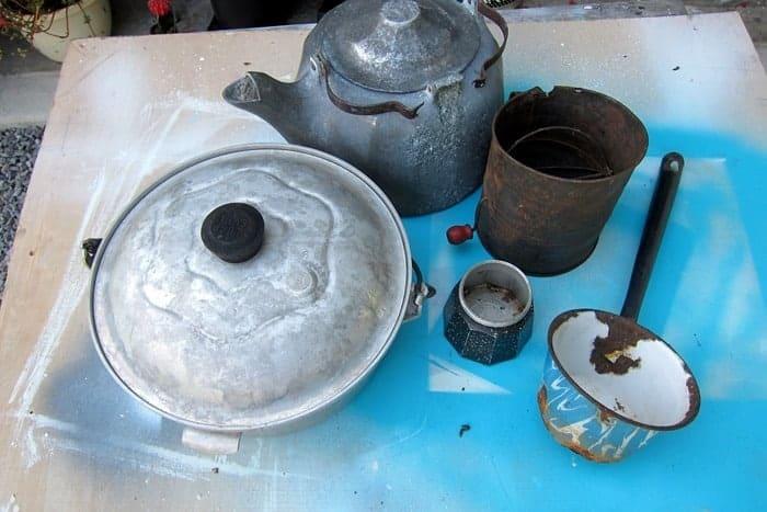 thrift store pots make great flower pots