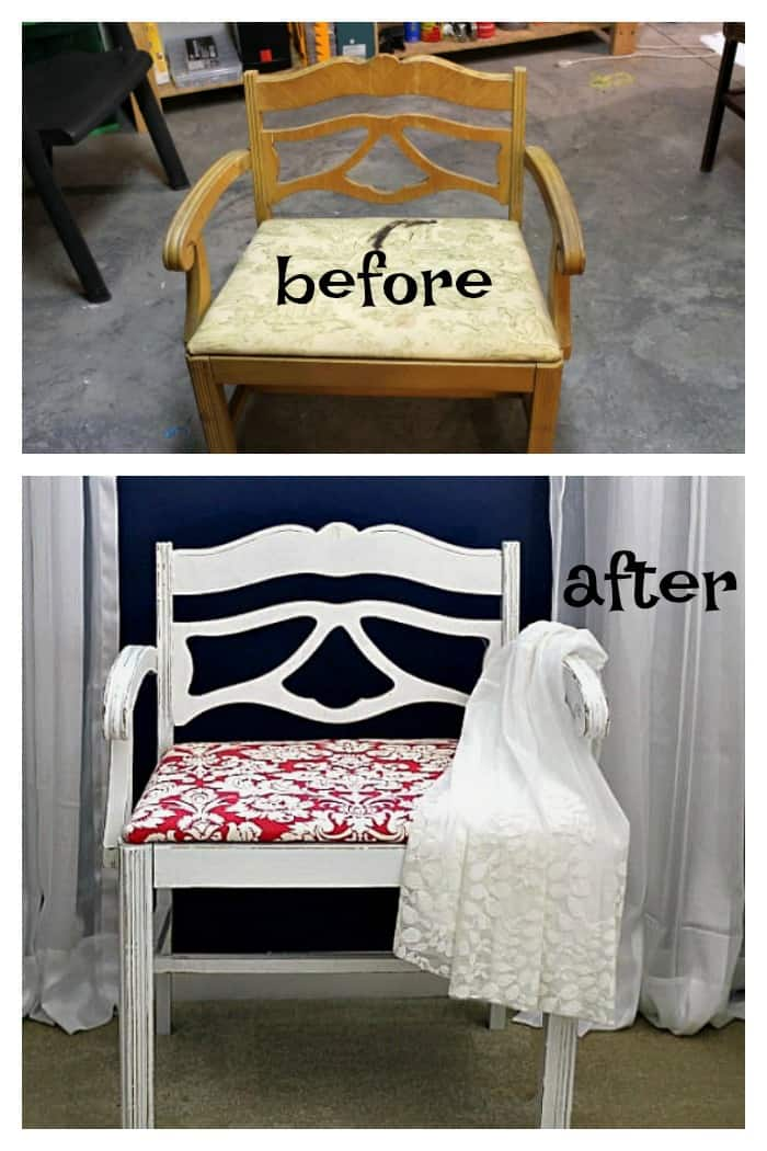 vanity stool makeover before and after photo