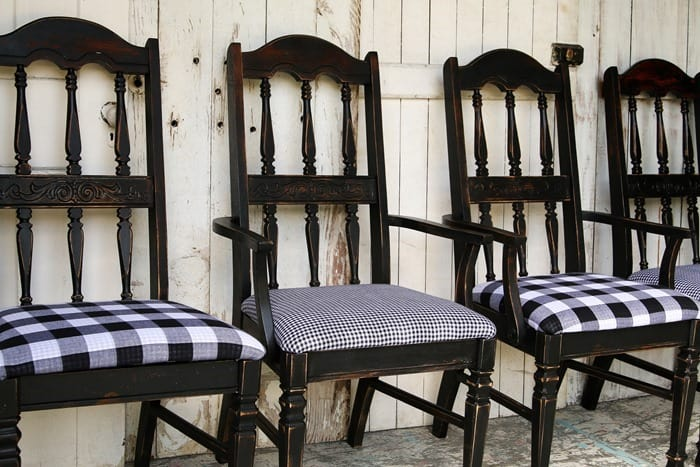 Bodacious Black And White Buffalo Check Chairs