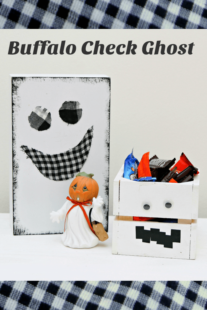 Buffalo check ghost made with a wood box and buffalo check fabric
