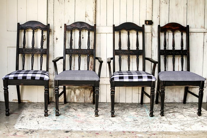 DIY Black Buffalo Check Chairs