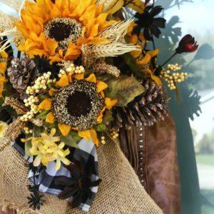 DIY Fall Sunflower Purse Wreath