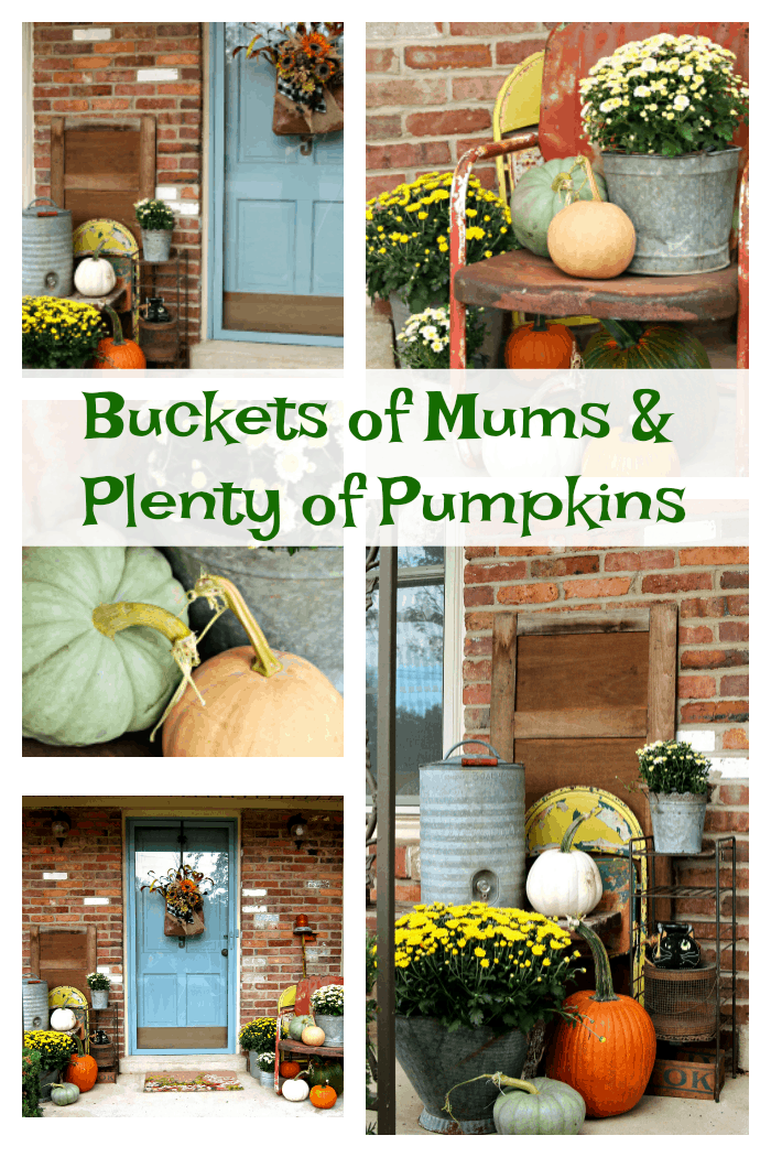 Decorating for Fall with pumpkins and mums