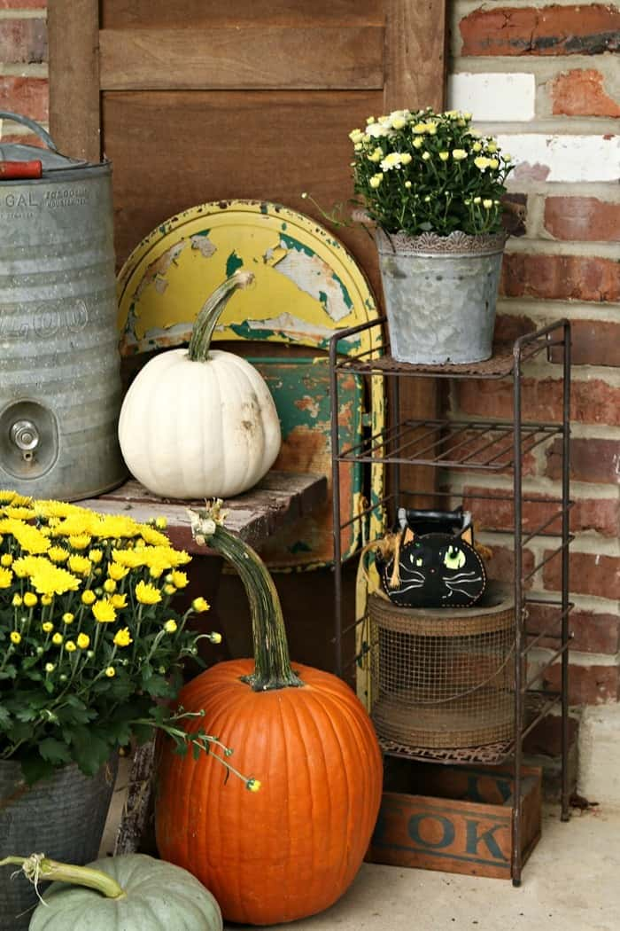 Decorating for Fall with rusty buckets and eclectic finds