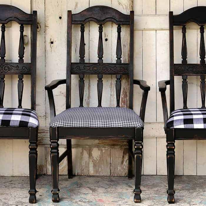 Buzz Worthy Black and White Buffalo Check Chairs