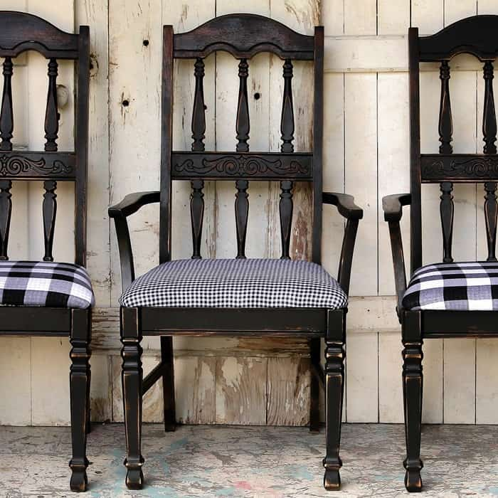 Dining Chairs Makeover Black Paint And Buffalo Check Plaid Fabric