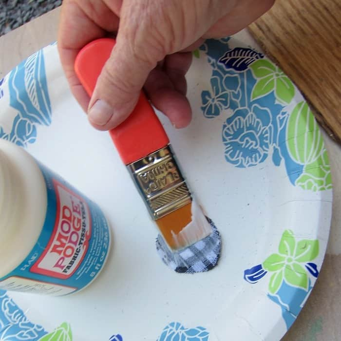 Fabric Mod Podge for gluing fabric to wood