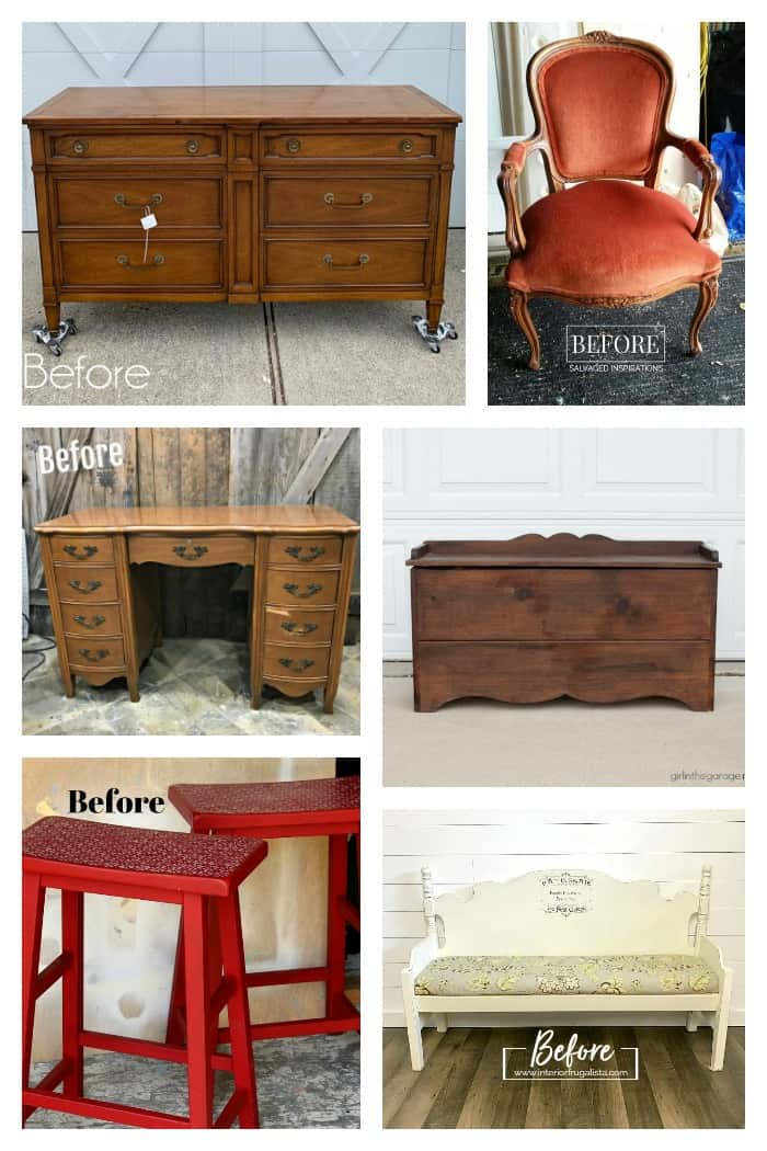 Furniture Fixer Uppers projects before paint makeovers