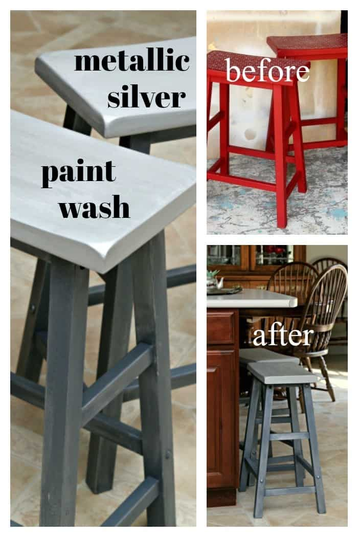 Gray furniture with a metallic silver paint wash
