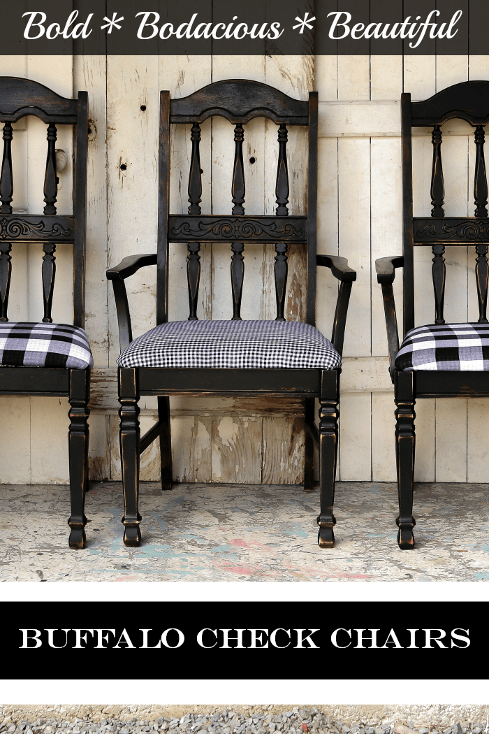 bold beautiful black chairs with buffalo check fabric seats