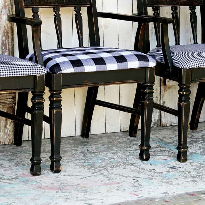 how to paint dining chairs black and recover seats with new fabric