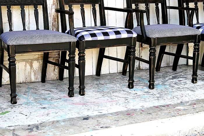 how to update dining table chairs with paint and fabric