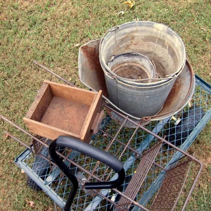 old galvanized buckets for Fall decorating