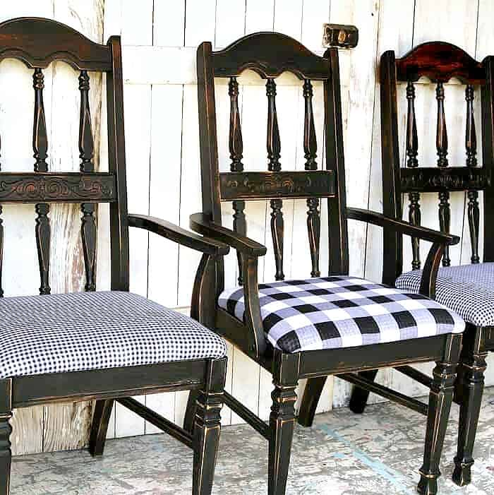 paint dining room chairs black and recover the chair seat with black and white buffalo check plaid
