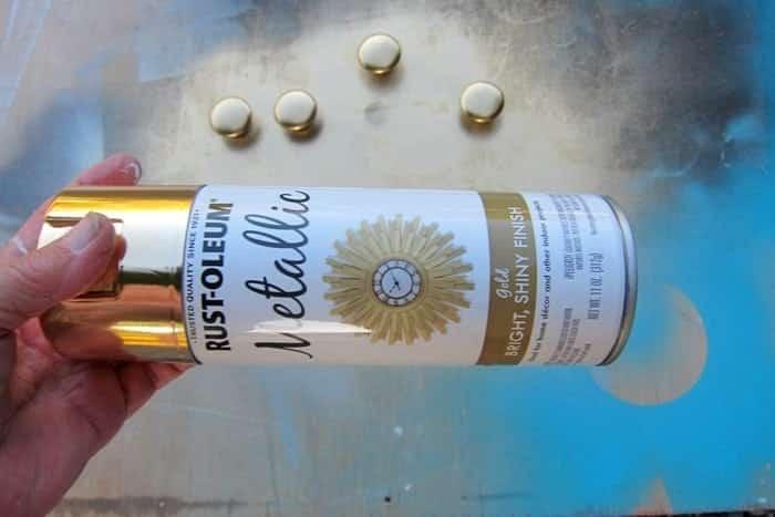 Rustoleum Metallic Gold paint for furniture knobs