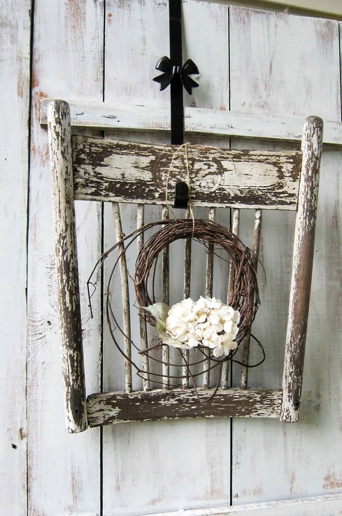 Shabby Chic Wood Chair Parts Makes A Great Wreath Display