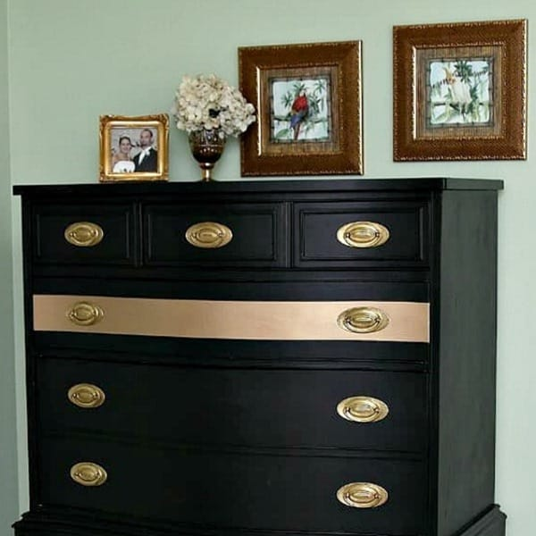 black furniture with gold accents