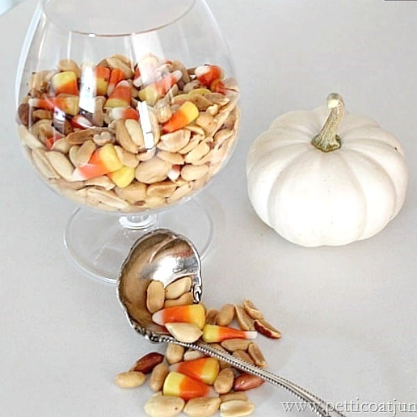 candy corn and salted peanuts Fall treat or save for Halloween