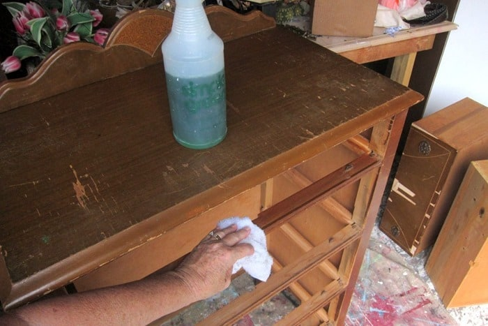clean vintage furniture with Simple Green before painting
