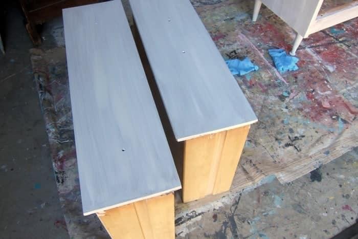 one coat of Glidden Gripper Primer on furniture