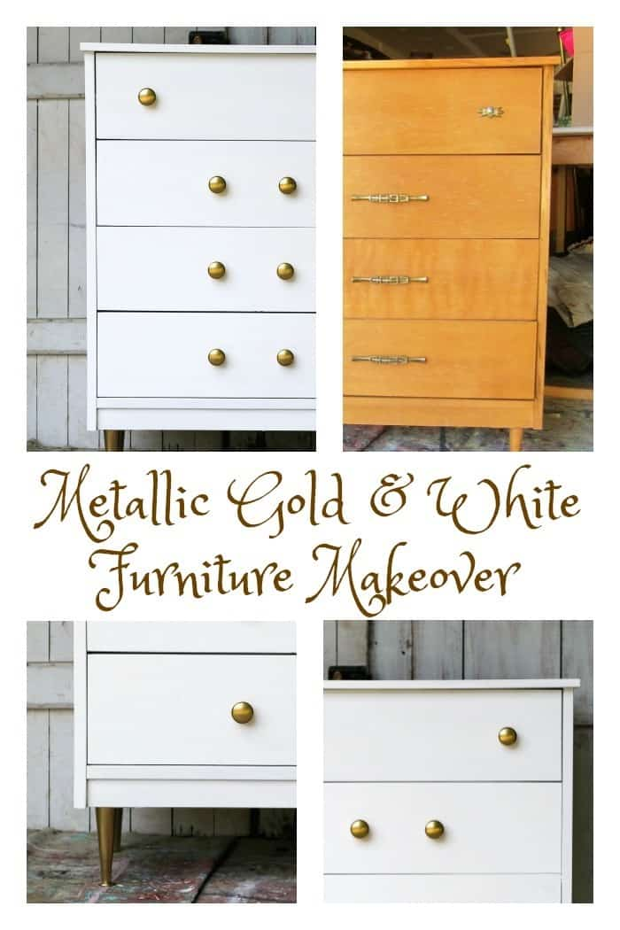 paint furniture metallic gold and white