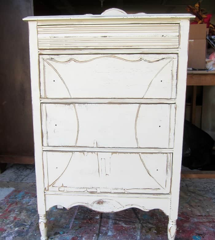 vintage furniture painted with two coats of paint
