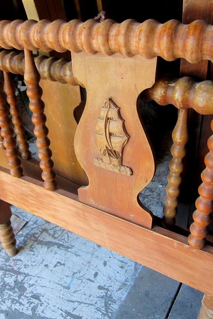 vintage wood spindle bed with wood ship applique project by Petticoat Junktion