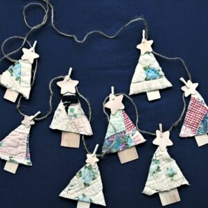 Christmas tree ornaments made from a recycled quilt