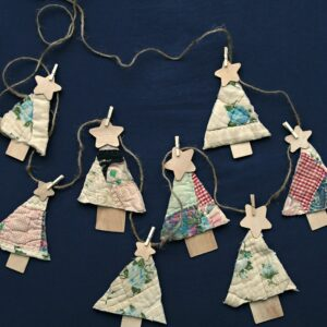 Easy 3 Step Recycled Quilt Christmas Tree Banner Garland