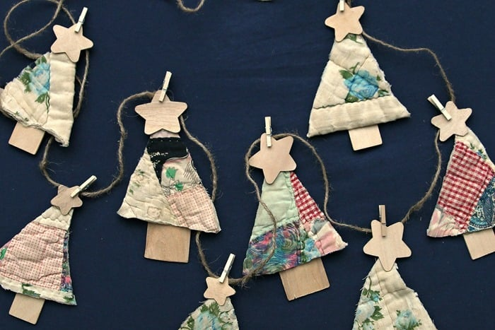 Easy 3 Step Vintage Quilt Christmas Tree Banner