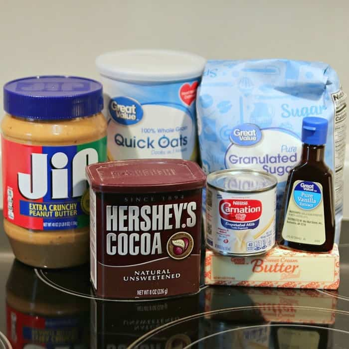 Ingredients to make no bake chocolate oatmeal peanut butter cookies