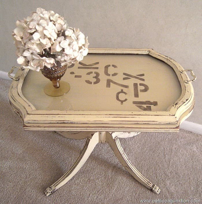 painted and stenciled table